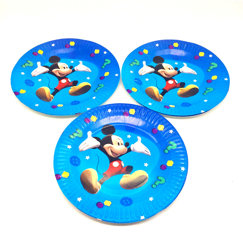 wedding : 128Pcs Lot Mickey Mouse Theme Disposable Tableware Sets Kids Birthday Party Decoration Childrens Day Wedding Event Supplies