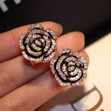 Famous Luxury Brand Designers Jewelry Camellia Flowers Charm Fashion Gold-color 2017 New Stud Earring For Women