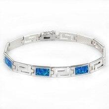 SZ0003 prosty niebieski Opal bransoletki dla mężczyzn i kobiet elegancki w stylu europejskim klasyczny wzór łańcucha bransoletka na prezent