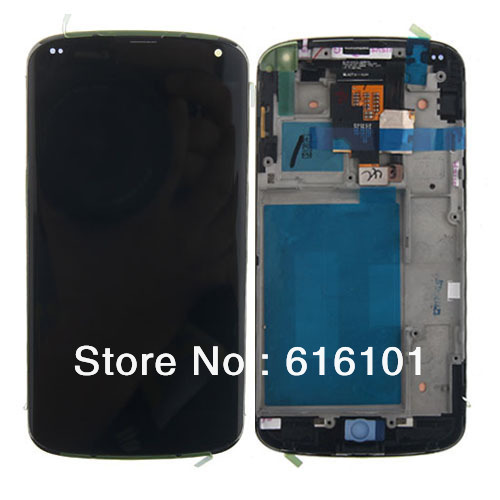 Replacement LCD Display Touch Digitizer  Frame  Assembly with Frame Bezel For LG Google Nexus 4 E960 Free shipping new lcd touch screen digitizer with frame assembly for lg google nexus 5 d820 d821 free shipping