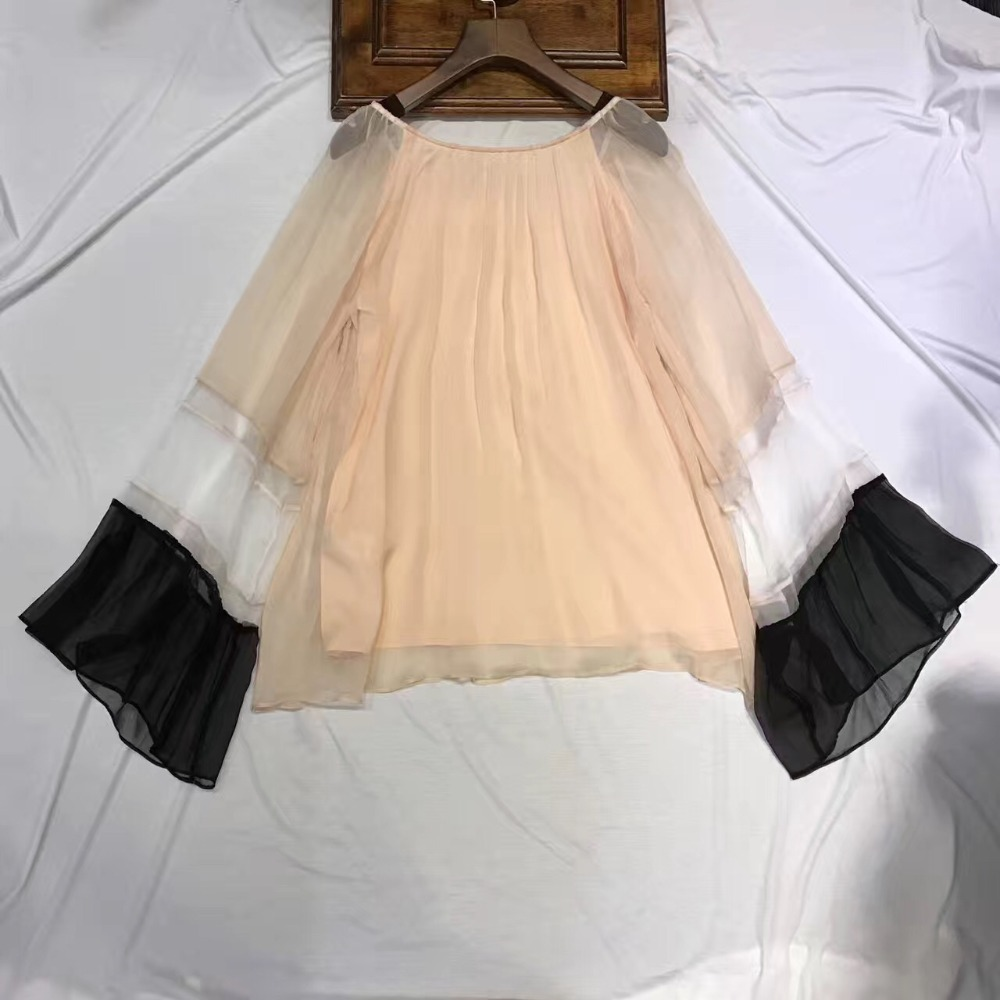 Desain t shirt elegan - 2017 Merek Mewah Fashion Desain Tshirts Musim Semi Musim Panas Sifon Elegan Blusas Femininas Kasual T Shirt