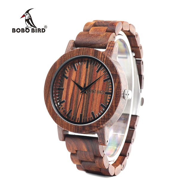 BOBO BIRD WM10 Wooden Watches Red Sandalwood Case Scale Dial Redwood Band Quartz