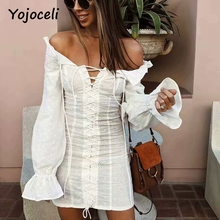 Yojoceli 2018 sexy off shoulder dress women long sleeve ruffled dress summer party club chic lace embroidery floral mini dress