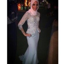 Perlen Muslimischen Abendkleid Langarm Meerjungfrau V-ausschnitt Sweep zug Dubai Formale Partei-kleider Aso Ebi Stil Abendkleid abend