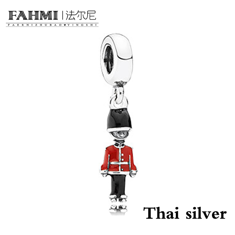 FAHMI Thai Silver TOY SOLDIER SILVER DANGLE WITH BLACK AND RED ENAMEL Charm Pendant Original Jewelry Limited Collection Brand