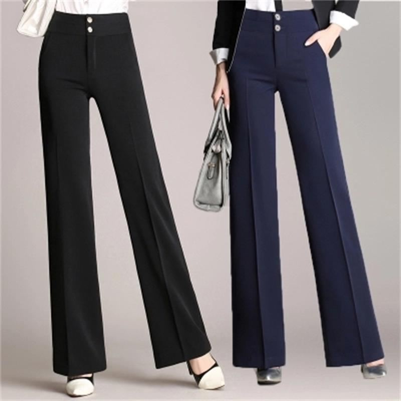 Ladies Fashion Fall High Straight Straight Trousers Elegant Trousers Loose Professional Wear Trousers Long Casual   Wide     Leg     Pants