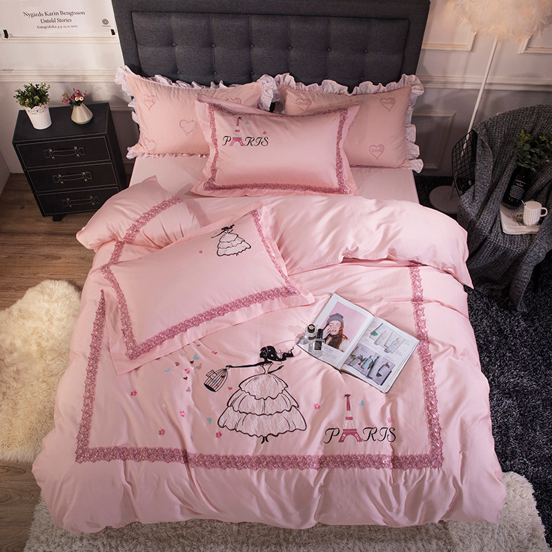 2018 <font><b>Luxury</b></font> <font><b>egyptian</b></font> <font><b>cotton</b></font> <font><b>bedding</b></font> <font><b>set</b></font> Cute Cover <font><b>Set</b></font> 4pcs Bed Linen Quilt Cover Queen King girls Gift image