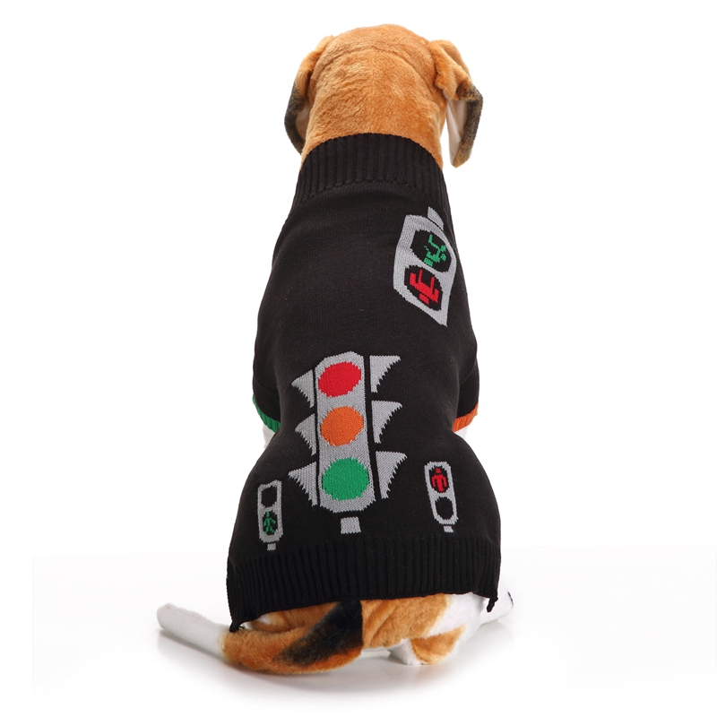 2017 Autumn and Winter Black Christmas Halloween Traffic Lights Dog Sweater Dog Clothes for Small and Large Pet Dogs