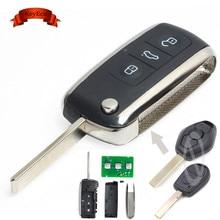 KEYECU EWS Adjustable Frequency Modified Bentley Style Folding Remote Key 3 Button for BMW 315/433MHZ ID44 Chip HU92