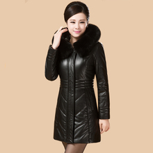 Capa 2017 mujeres del invierno más tamaño L-8XL cuero de lana outwear caliente chaqueta delgado era delgada gruesa parka jaqueta de couro femenina MZ774