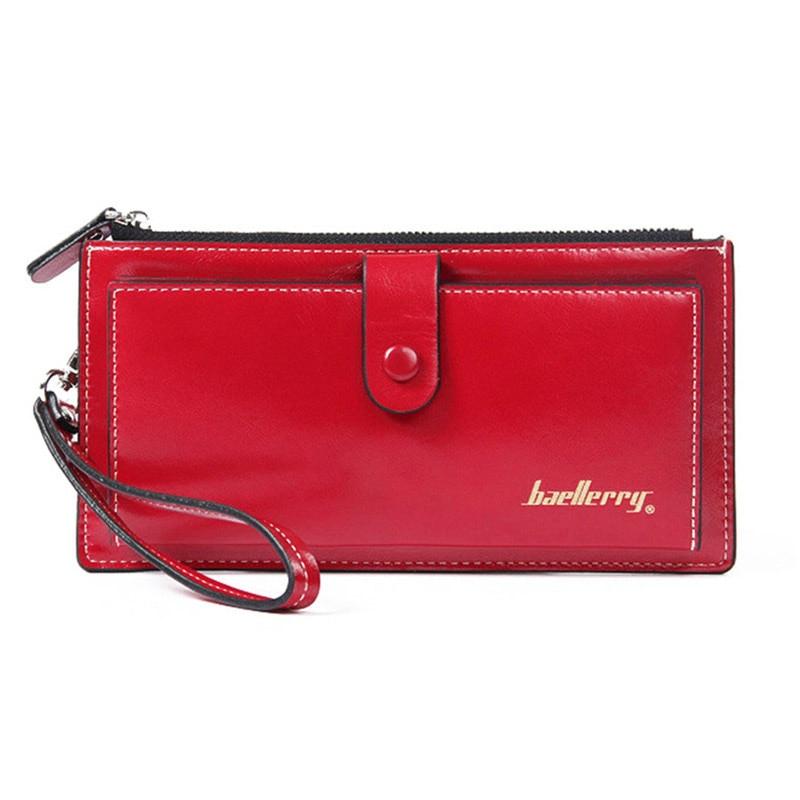 Top Leather Women Wallet Long 2018 Ladies Purse Big Wallet Woman Card Holder Zipper Hasp Wristlet Wallets Female Clutch Bag W083