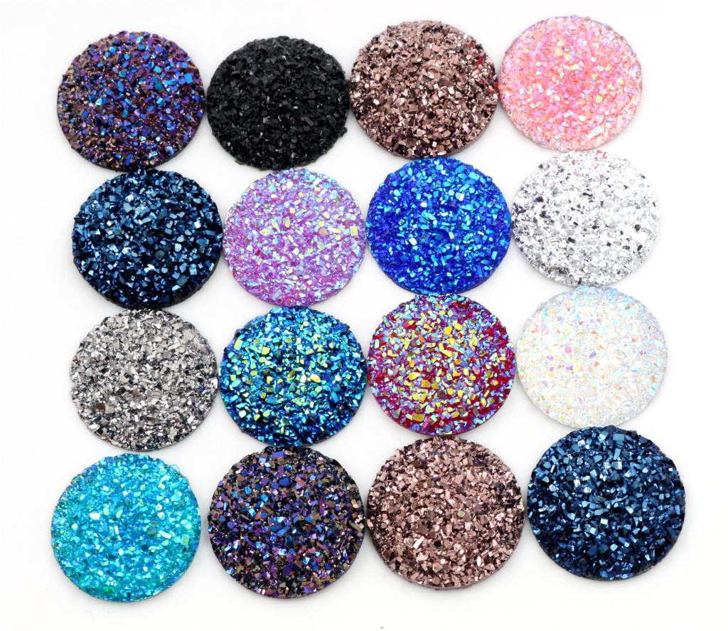 New Fashion 10pcs/lot 25mm Mix Colors Natural Ore Style Flat Back Resin Cabochon For Cameo Base Accessories For Jewelry Findings