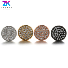 цена на ZHUKOU A Pair of Korean Style Gypsophila Stud Earrings for women Small Brass zirconia Round Stud Earrings for Girls VE51