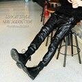 Calças de couro dos homens grandes estaleiros dos homens calças de inverno espessamento masculinos calça casual S-6XL O cantor roupas