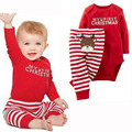 Newborn Boys Girls Christmas Red  Long Sleeves Romper Jumpsuit Bodysuit+Pants Clothes Outfits Set Soft Cotton Clothing Sets