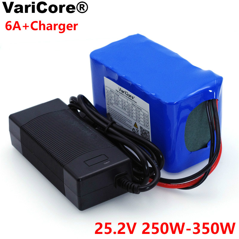 цена на VariCore 24V 6 Ah 6S3P 18650 Battery Lithium Battery 25.2 v Electric Bicycle Moped /Electric/Li ion Battery Pack+1A Charger