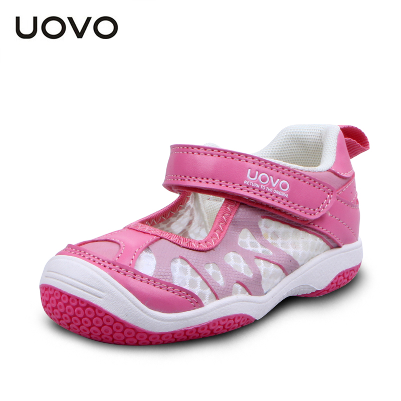 Uovo Brand Toddler Embossed Sneakers Spring Summer Girls Sandals EU25-29 Breathable Kids Mesh Shoes Closed Toe Flat Mules Pink