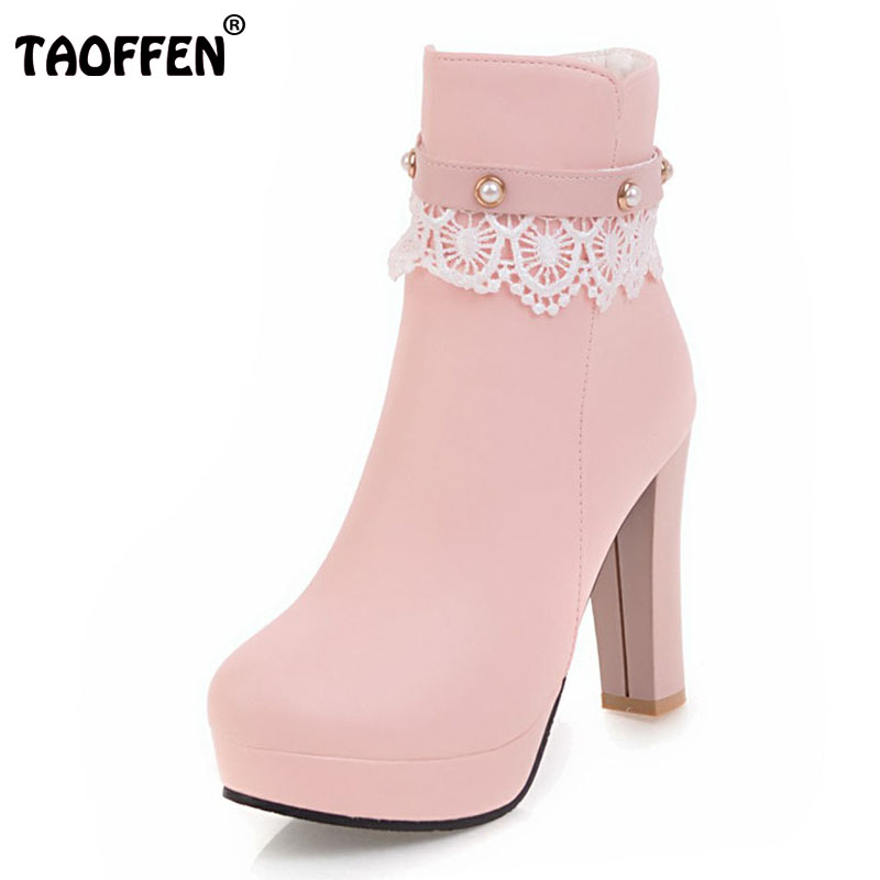TAOFFEN Size 33-43 Women Mid Calf High Heel Boots Platform Beading Lace Thick Heels Boots Winter Shoes Sweet Bota Woman Footwear double buckle cross straps mid calf boots