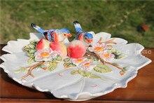 ceramic Creative birds peach fruit plate Candy Storage dish home decor crafts wedding decoration handicraft porcelain figurine