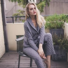 2017 Real Sale Winter Cardigan Coat Soft Nightgown Pajamas Trousers Thick Can Wear Three Piece Suit Home Furnishing For Women