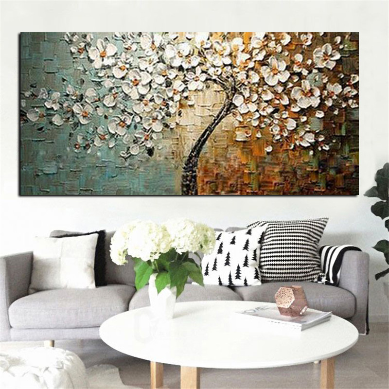 Handmade Modern Flower Tree Landscape Handpainted Abstract Oil painting palette Knife Oil Painting Wall Picture for Living Room (2)