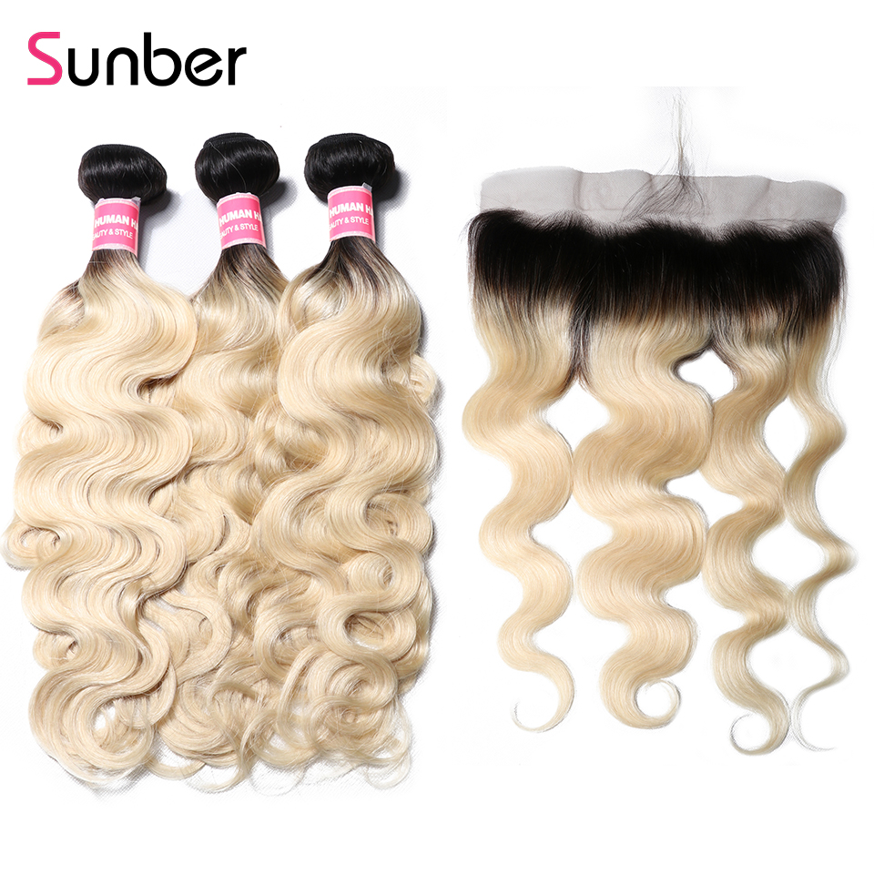 Sunber Hair T1B/613 Body Wave Brazilian Hair Bundles with Frontal Remy Human Hair Ombre Blonde 13*4 Frontal with Bundles