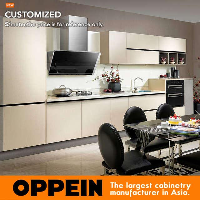 Muebles de cocina de madera de melamina Beige gris moderno de Oppein  (OP14-075)