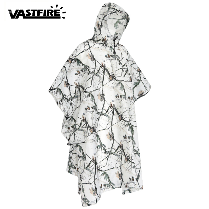 Hunting clothes Waterproof Hooded Ripstop camouflage raincoat Multifunctional Military Impermeable Men Women Rain Poncho