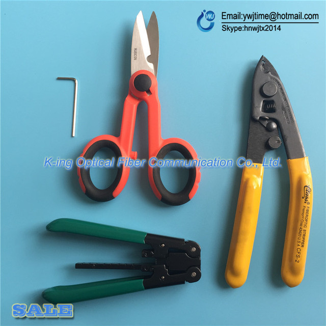 4 PCS FTTH Splice fiber optic tool kits Fiber Optic Tool Pixian Fibre stripping + optical fiber+ RUBICON RCZ-527 Kevlar scissors