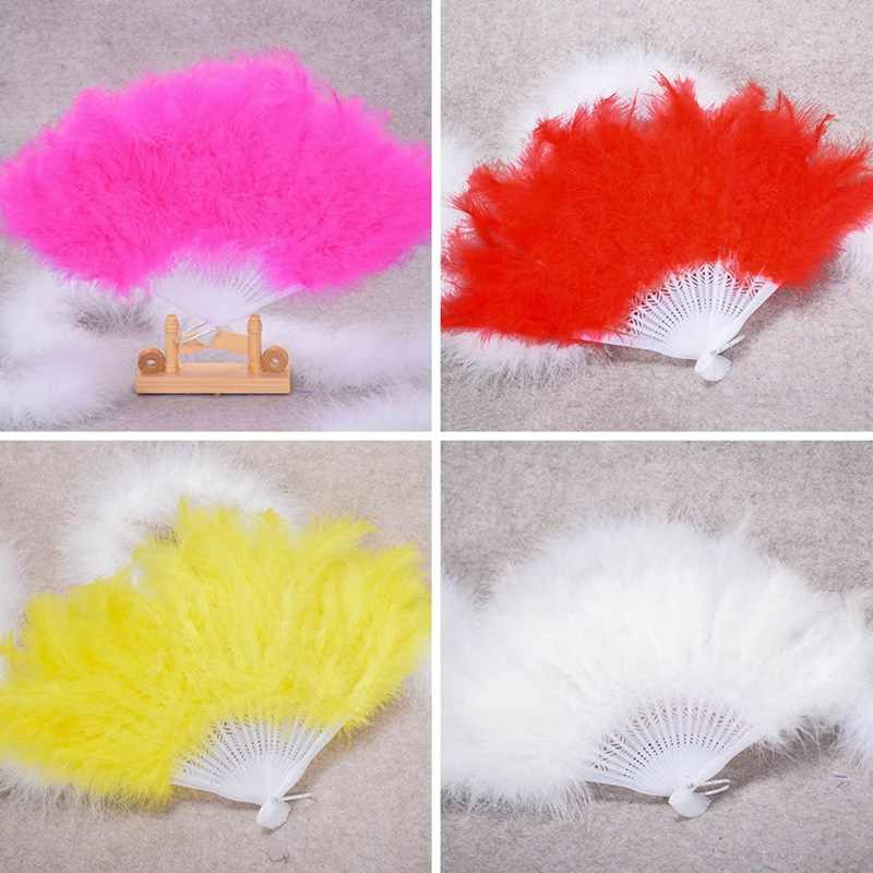 Newest  Nice Feather Fan For Dance Props Hand Goose Feather Folding Fan Wedding
