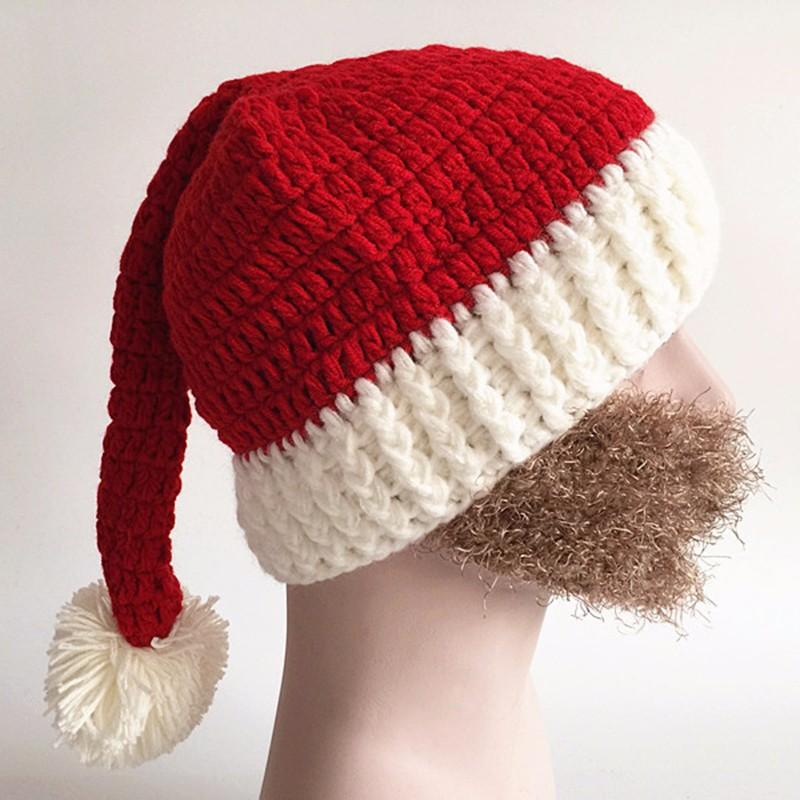 2016 Adult Crochet Knit Beanie Santa Claus Handmade Knitted Hat Hot Fashion Bearded Cap Women Men Christmas Gifts Accessories (3)