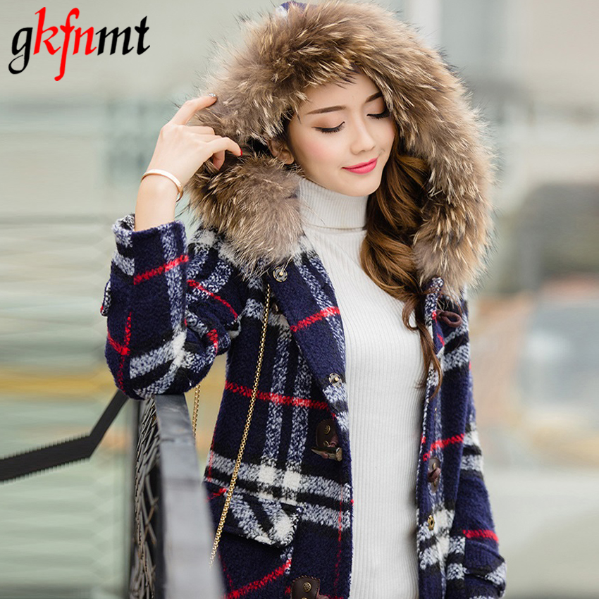 Gkfnmt 2018 New Women Plaid Coat Winter Cotton Thick Jacket Female Hooded Fur Collar Woolen Warm