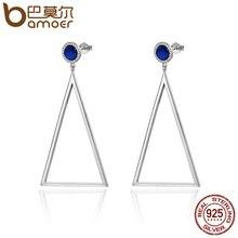 Bamoer натуральная 925 серебро геометрический синий кристалл Треугольники Висячие серьги для Для Женщин стерлингов Серебряные ювелирные изделия подарок SCE075