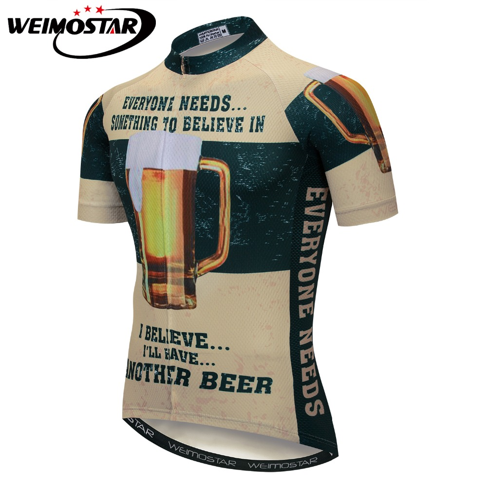 2018 Weimostar Mountain Bike Jersey Tops Sports Shirts Mens Cycling Jersey Ropa de Ciclismo MTB Breathable Quick Dry Beer summer sports cycling clothes men s cycling jersey sets breathable quick dry mountain bike sports wear for spring women new