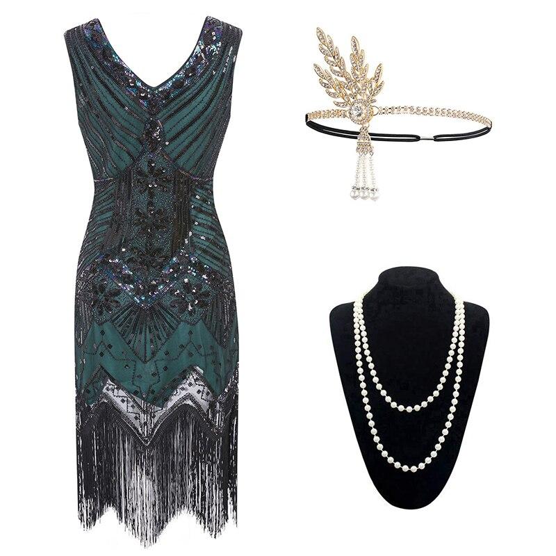 Vintage femmes 1920s Gastby Allover paillettes maille Art Nouveau embelli frangé robe à clapet grande taille noir/vert/blanc/or