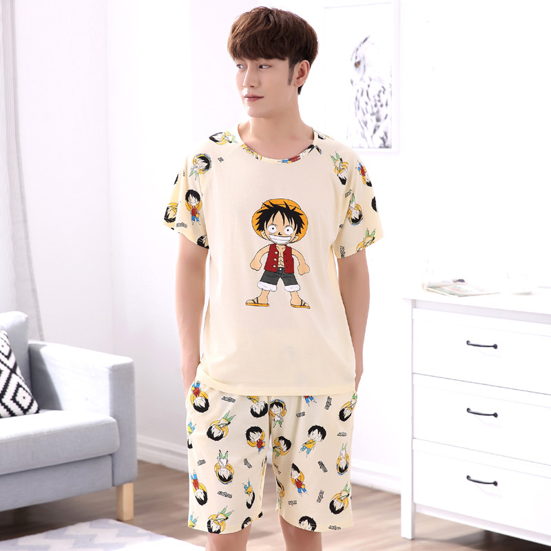 Yidanna Men Pajamas Set Cotton Sleepwear Figure Print Nightwear Short Sleeved Sleep Clothing Casual Nighties Summer Male Lounge