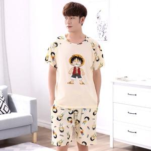 Image 1 - Мужская пижама с короткими рукавами Yidanna, Хлопковая пижама с принтом в виде фигуры, Повседневная Ночная рубашка для отдыха на лето