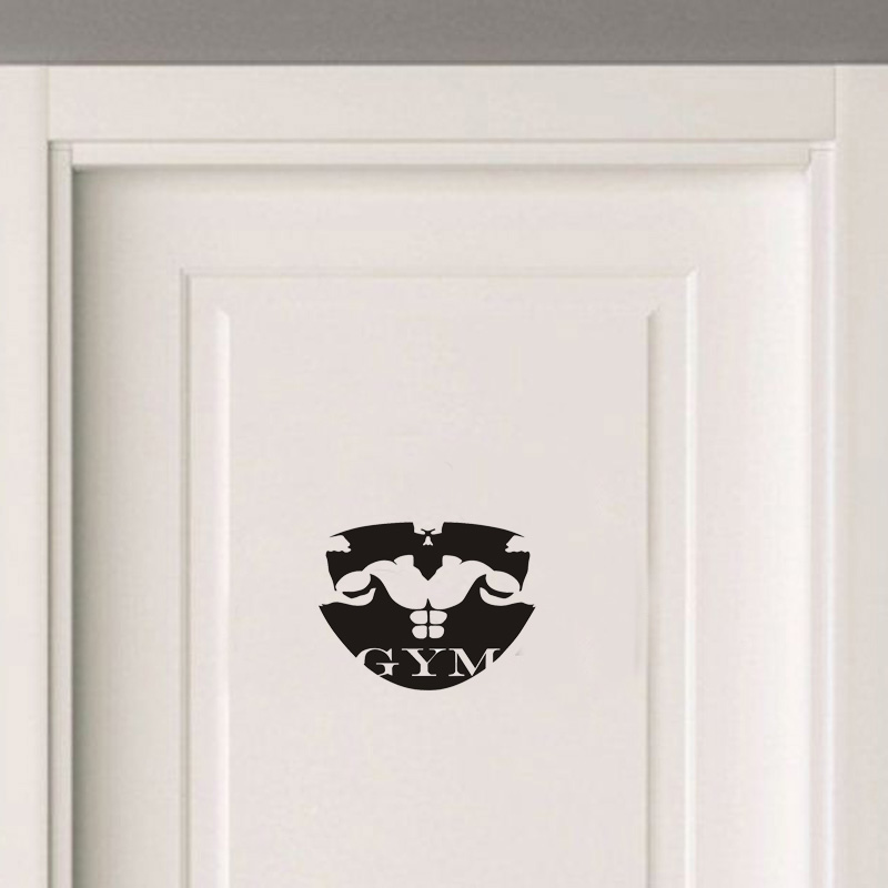 Muscle Man Silhouette Gym Vinyl Door Sticker Creative Home Decoration Wall Stickers For Gum A2317