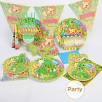 Party Supplies 84 Pcs Set For 6 Persons Kids Children Forest Theme Disposable Tableware Plate Cup