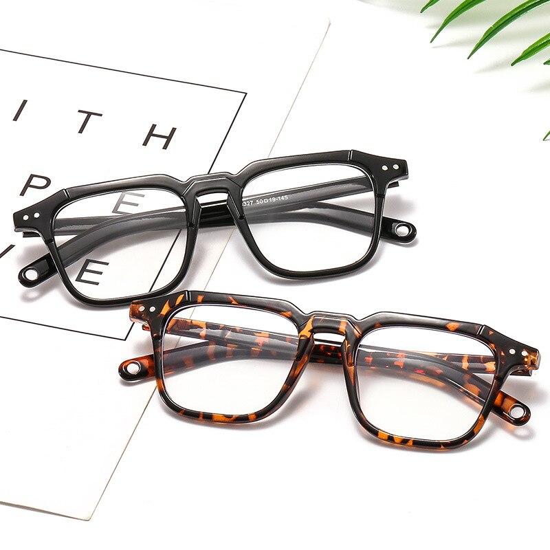 [EL Malus] Fashion Rivet Square Shades Optical Glasses Frame For Women Men Eyeglasses Eyewear Frames Light Design Female Oculos
