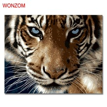 Fierce Tiger Oil Painting By Numbers DIY Abstract Digital Animal Picture Coloring By Numbers On Canvas Unique Gift Home Decor diy digital oil painting by numbers kits coloring landscape painting by numbers unique gift for living room home decor 40 50cm