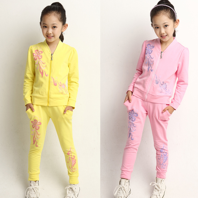 Children's clothing female child autumn clothes set kids spring and autumn long sleeve casual sports sweatshirt girls twinset