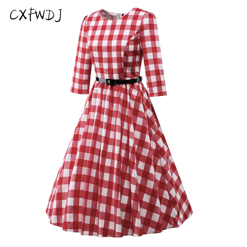 Robe Vestidos De Fiesta Cxfwdj Vintage Autumn Women Lattice 7 Points ...