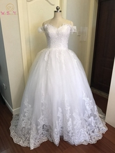 Ball Gown Wedding Dresses Plus Size Off Shoulder 2019 Lace Appliqued Sweetheart Neck White Ivory Champagne Bridal Gowns Princess