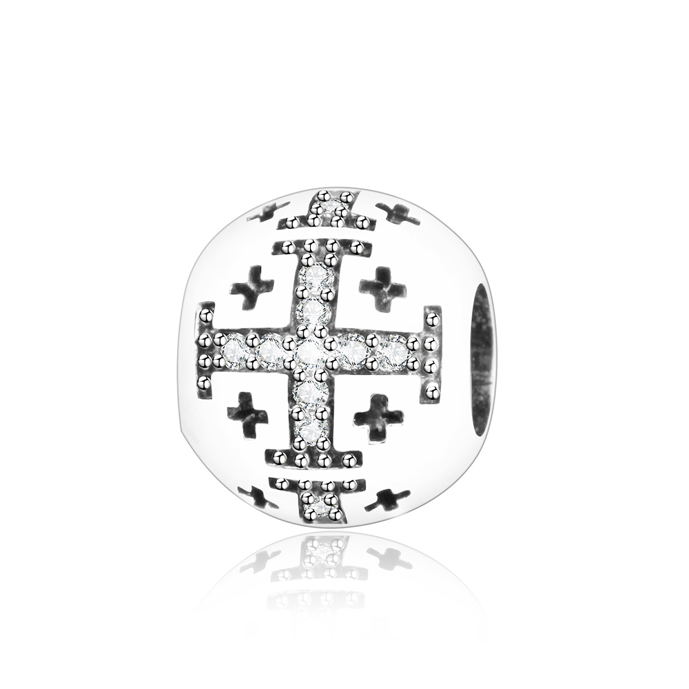 2018 Newest 925 Sterling Silver Cross Charms Bead With Clear CZ Fits Original Pandora Charm Bracelet DIY Women Jewelry Making