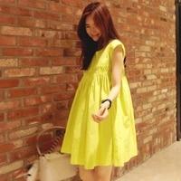 2017 Summer New Loose Women Dress Pluz Size Korean Style Dress Cotton And Linen Short Sleeve