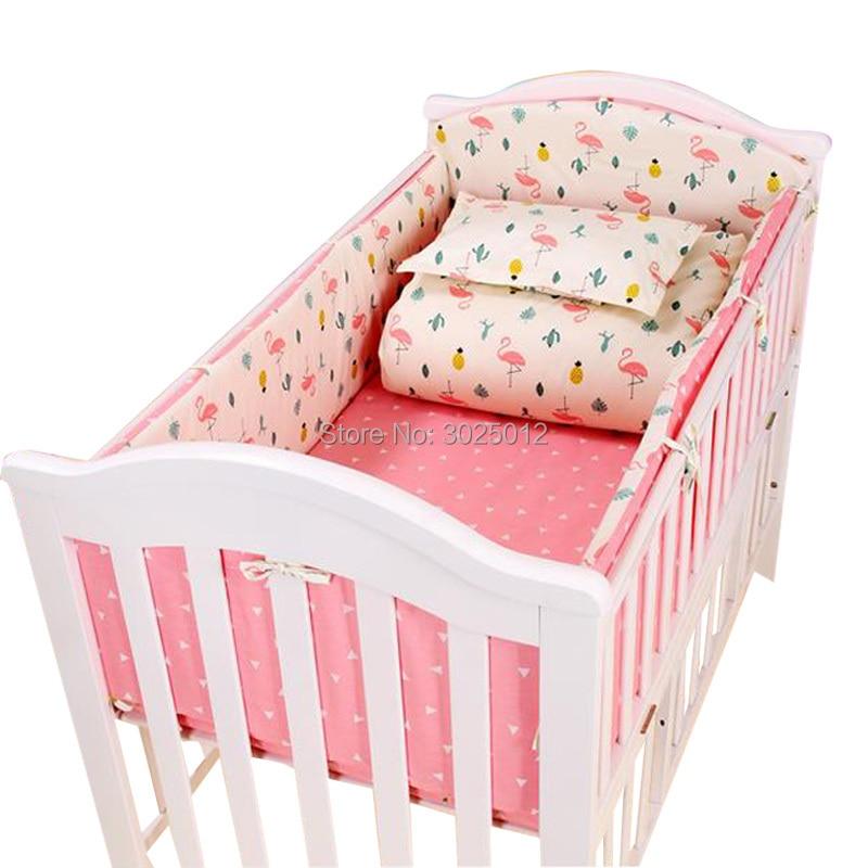 3pcs to 7 pcs Cotton Baby Bedding Set Infant Crib Bumper Bed Protector Baby Kids Cotton Nursery bedding Flamingo Bedding Set