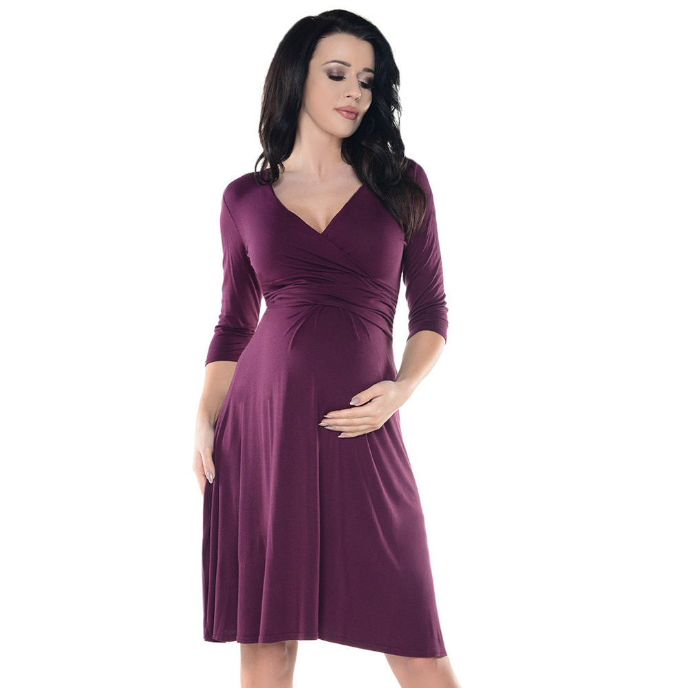 V Neck Pregnant Dresses Maternity Nursing Clothes For Pregnant Women Feeding Pregnancy Dress Breastfeeding Maternity Clothing