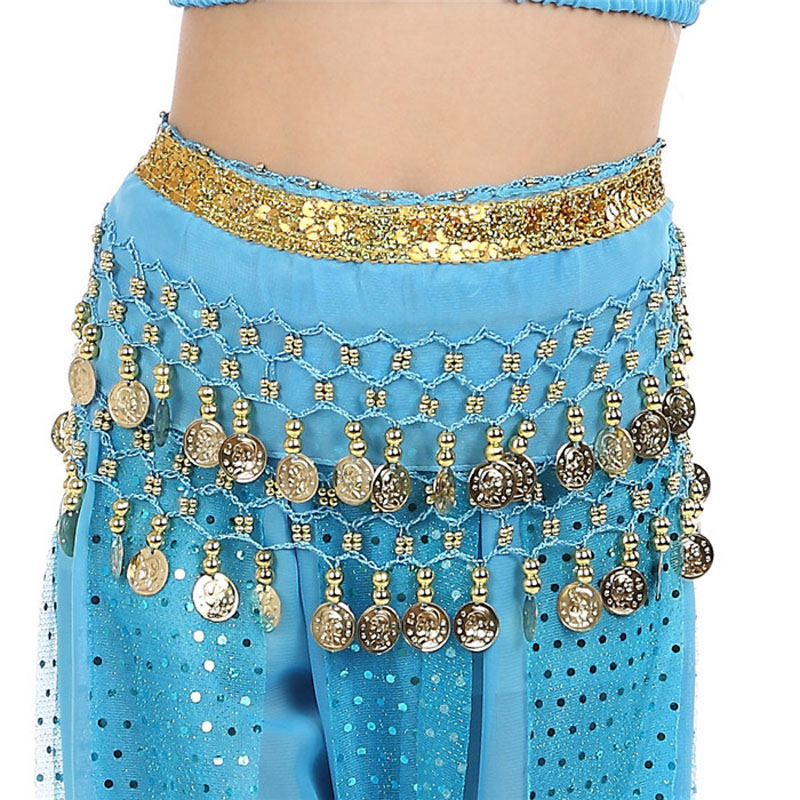 2020 New Hot Sell Kids Belly Dance Coin Belt Hip Scarf Skirt Wrap Girls Bollywood Dancing Costume 6 Colors Free Shipping