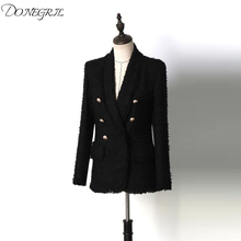 Spring-Summer Designer Women's Cardigan Long Sleeve Double Breasted Gold Button Slim Tweed